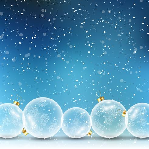 Julgran på snöig bakgrund vektor