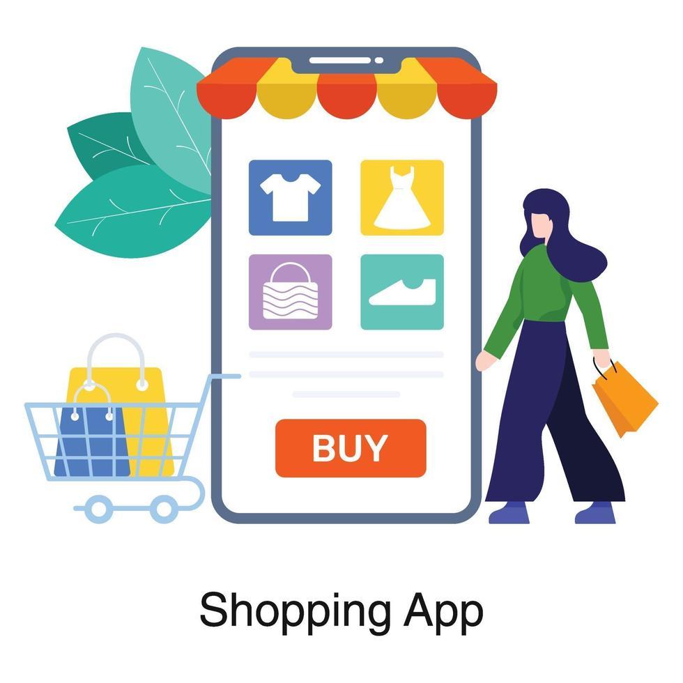 Online-Shopping-App-Konzept vektor