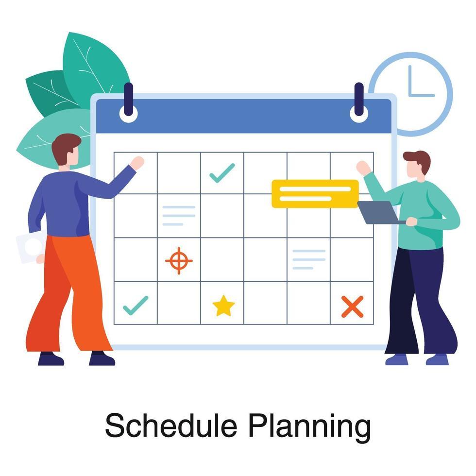 arbetsplanering och schemaläggningskoncept vektor