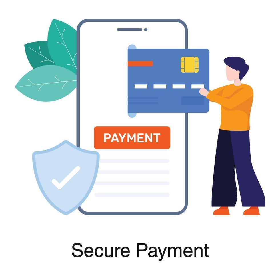 säkert betalnings- och bankkoncept vektor