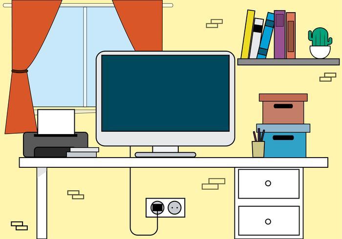 Vektor-Büro-Desktop-Illustration vektor