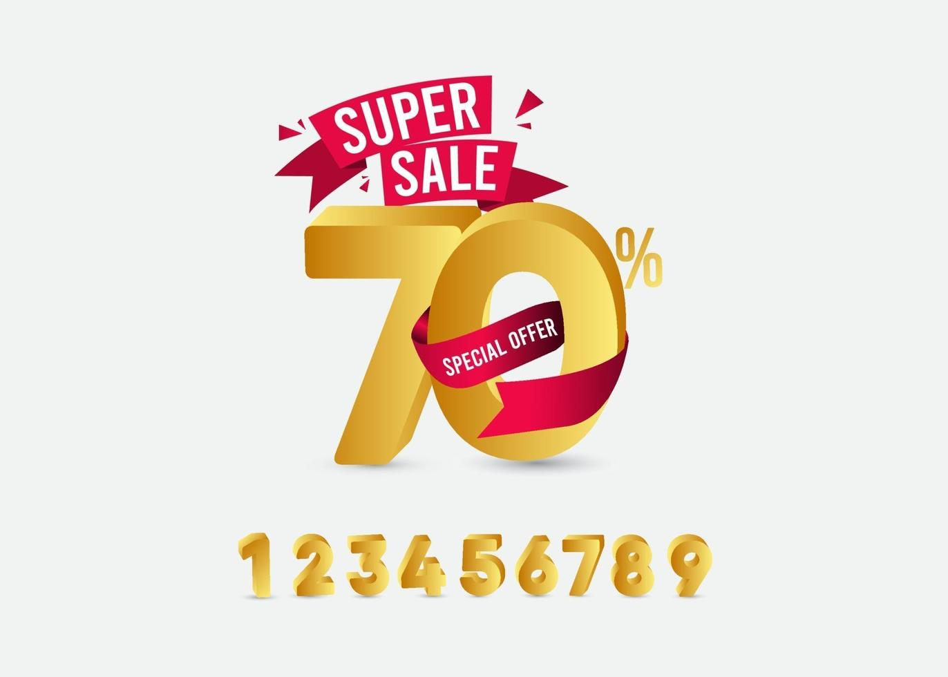 super försäljning 70 specialerbjudande etikett guld vektor mall design illustration