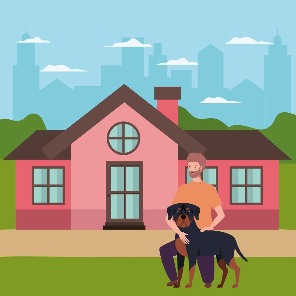 junger Mann mit niedlichem Hundemaskottchen im Haus im Freien vektor
