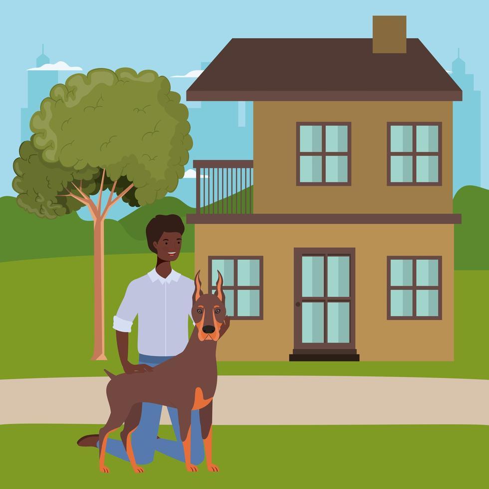 Afro-Mann mit niedlichem Hundemaskottchen im Haus im Freien vektor