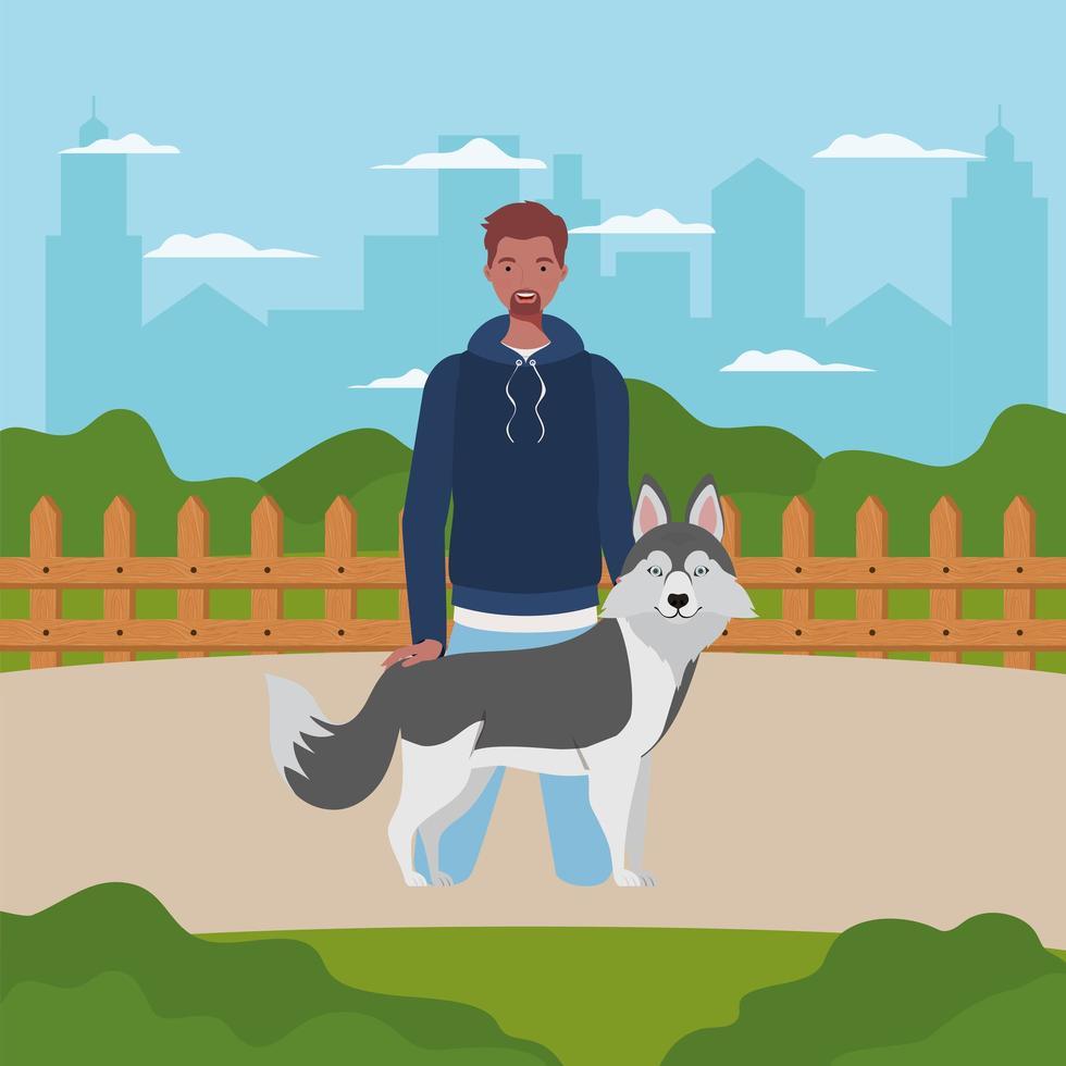 junger Mann mit niedlichem Hundemaskottchen im Lager vektor