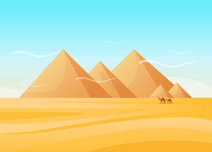 Ägypten-Pyramiden auf Wüsten-Vektor vektor
