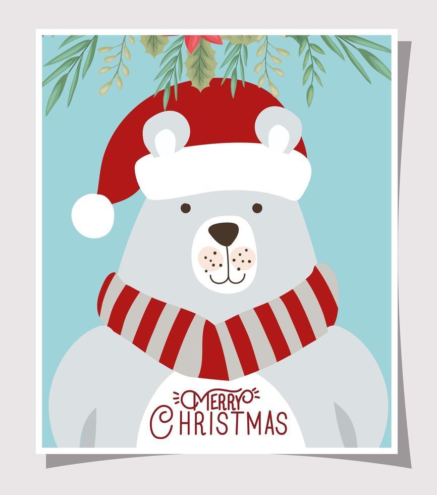 Frohe Weihnachtskarte mit Eisbär vektor