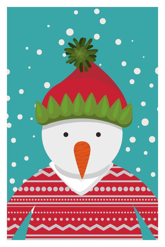 Frohe Weihnachtskarte mit Schneemanncharakter vektor