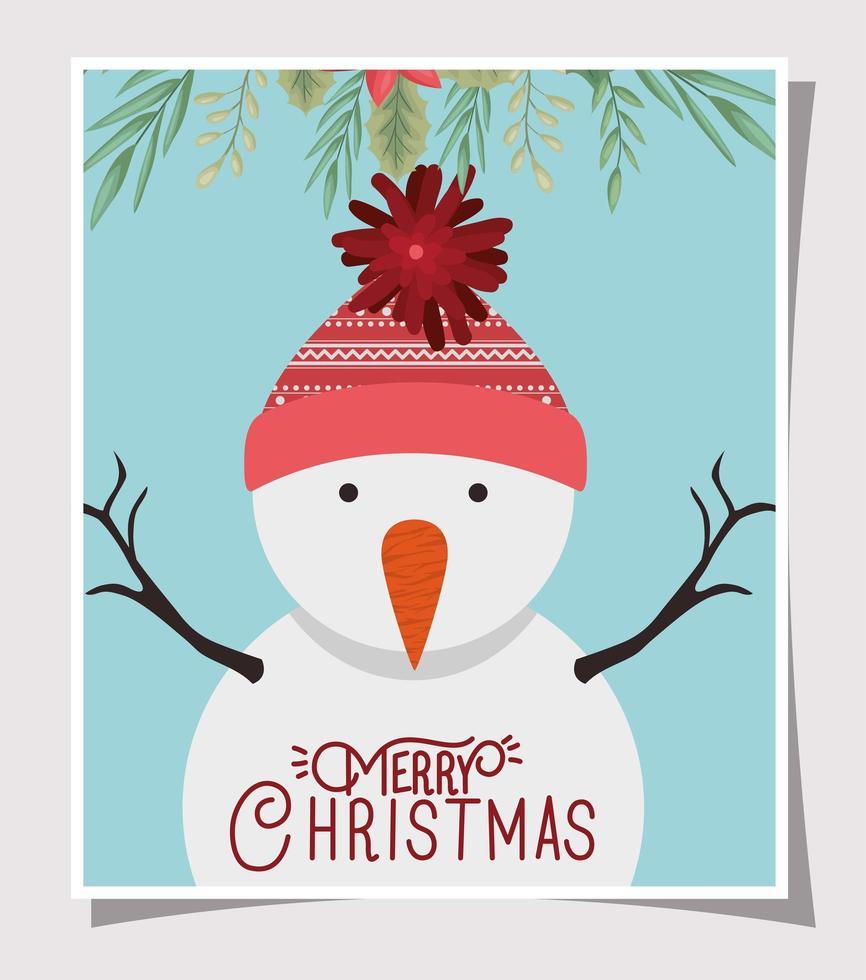 god julkort med snögubbe karaktär vektor