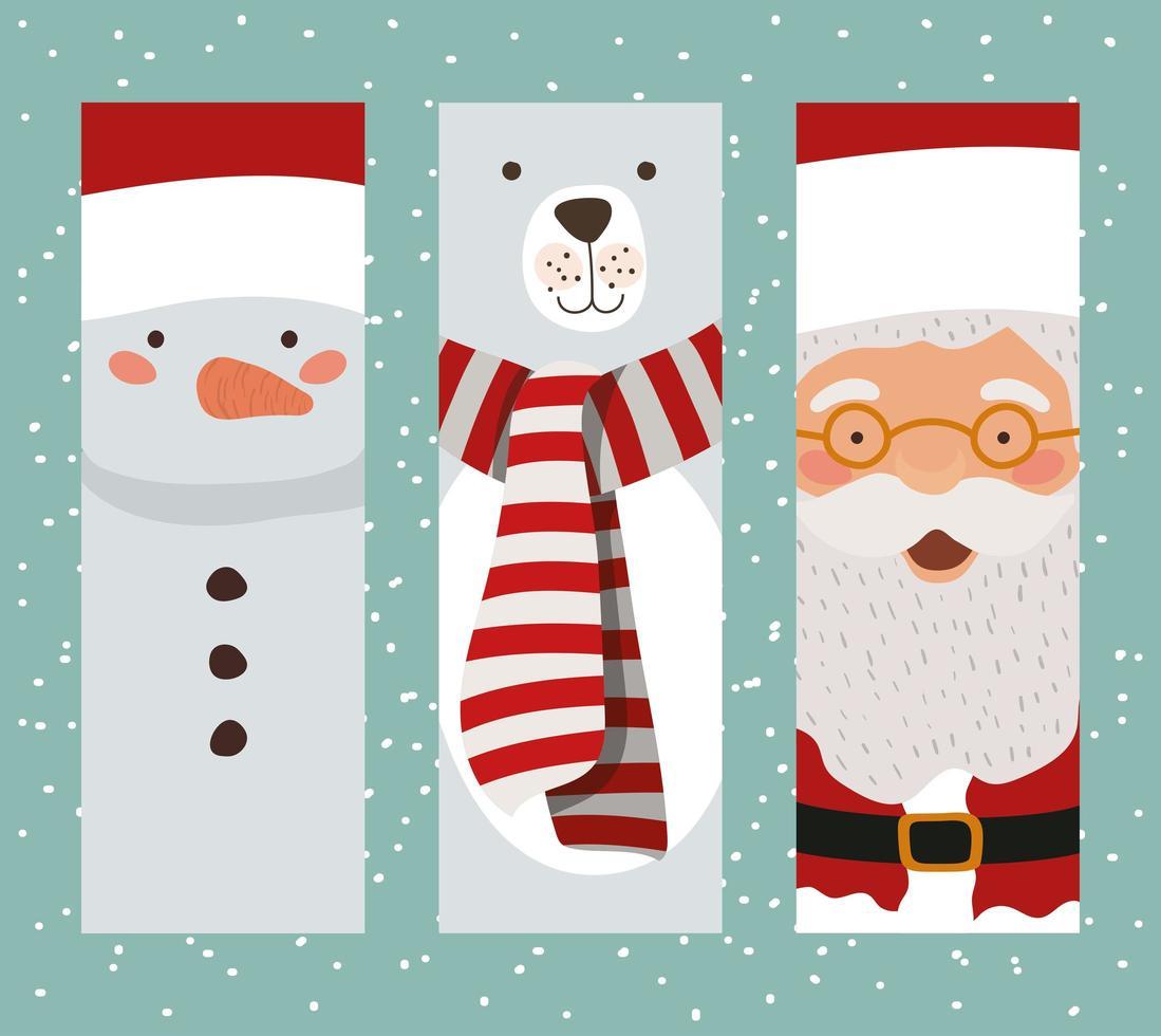 niedliche Weihnachtsfiguren-Kartensatz vektor