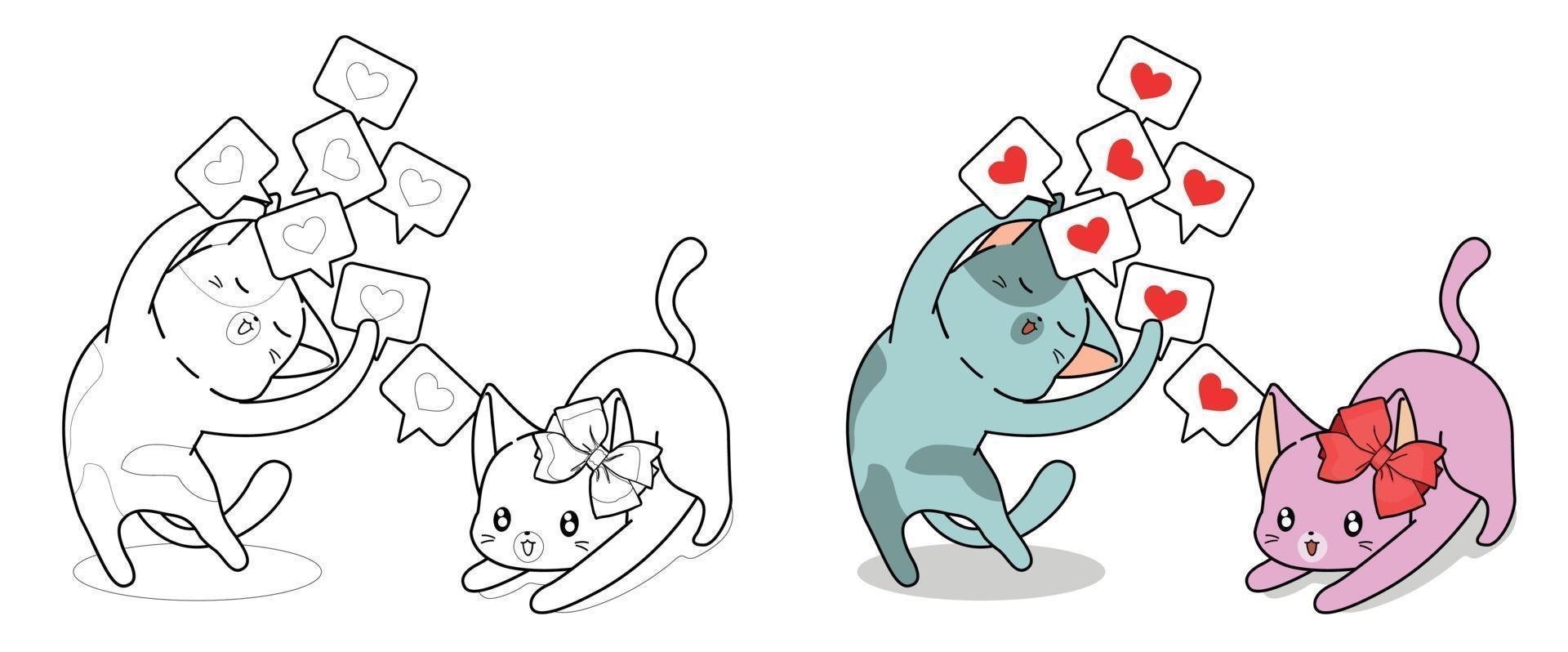 söt katt visar kärlekskort till sin flickvän, målarbok för barn vektor