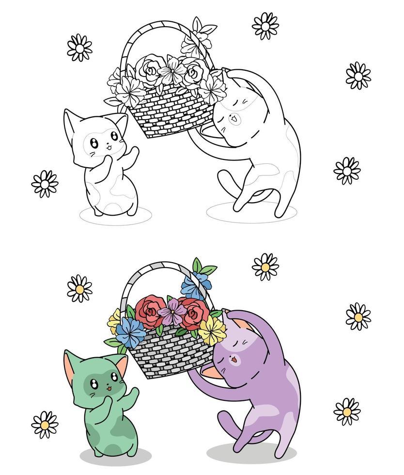 söta kattkaraktärer med korg med blommor, tecknad målarbok för barn vektor