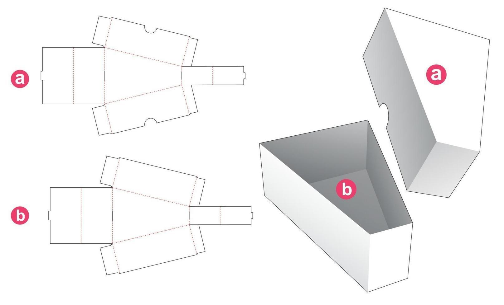 Dreiecksbox mit Deckel gestanzte Schablone vektor