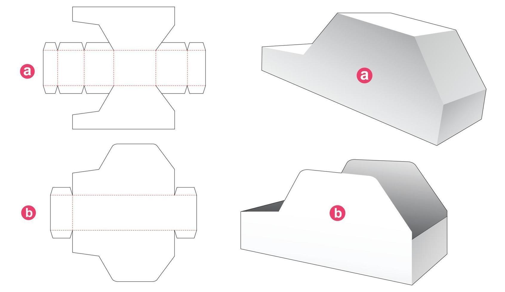 kartongformad låda och lockstansmall vektor