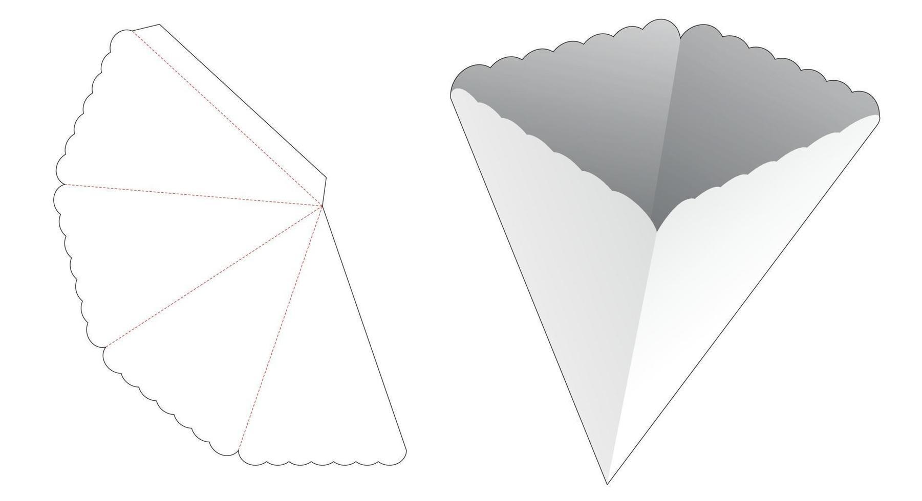 geriffelte pylonförmige Snackbehälter-Stanzschablone vektor