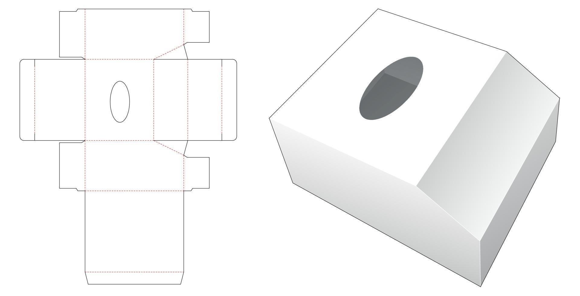 abgeschrägte Tissue Box Stanzschablone vektor