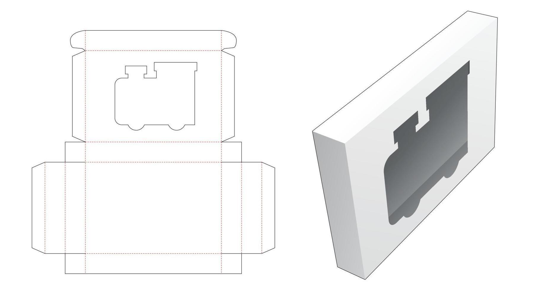 tennlåda med lokformad mall för fönsterskärning vektor
