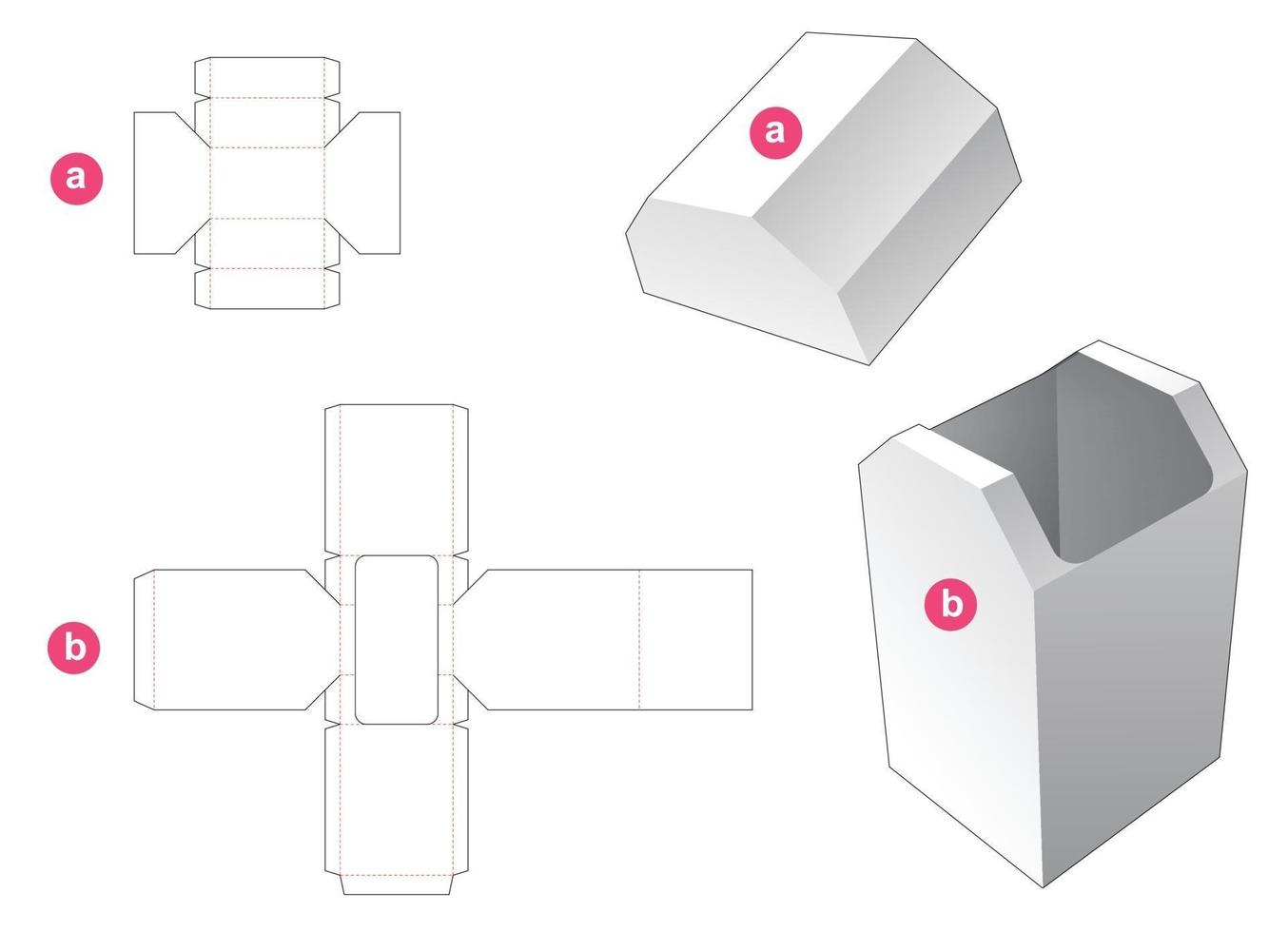 kartonglåda med avfasad mall vektor