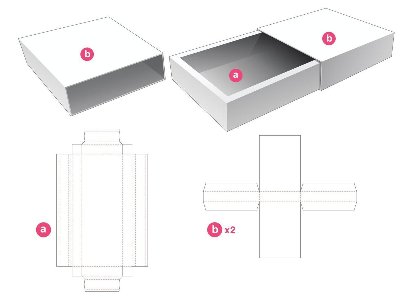 lange Verpackungsbox mit 2 Deckeln gestanzte Schablone vektor