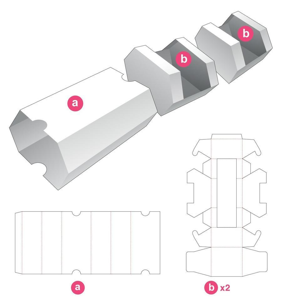dubbel sexkantig formad bricka med täckmall vektor
