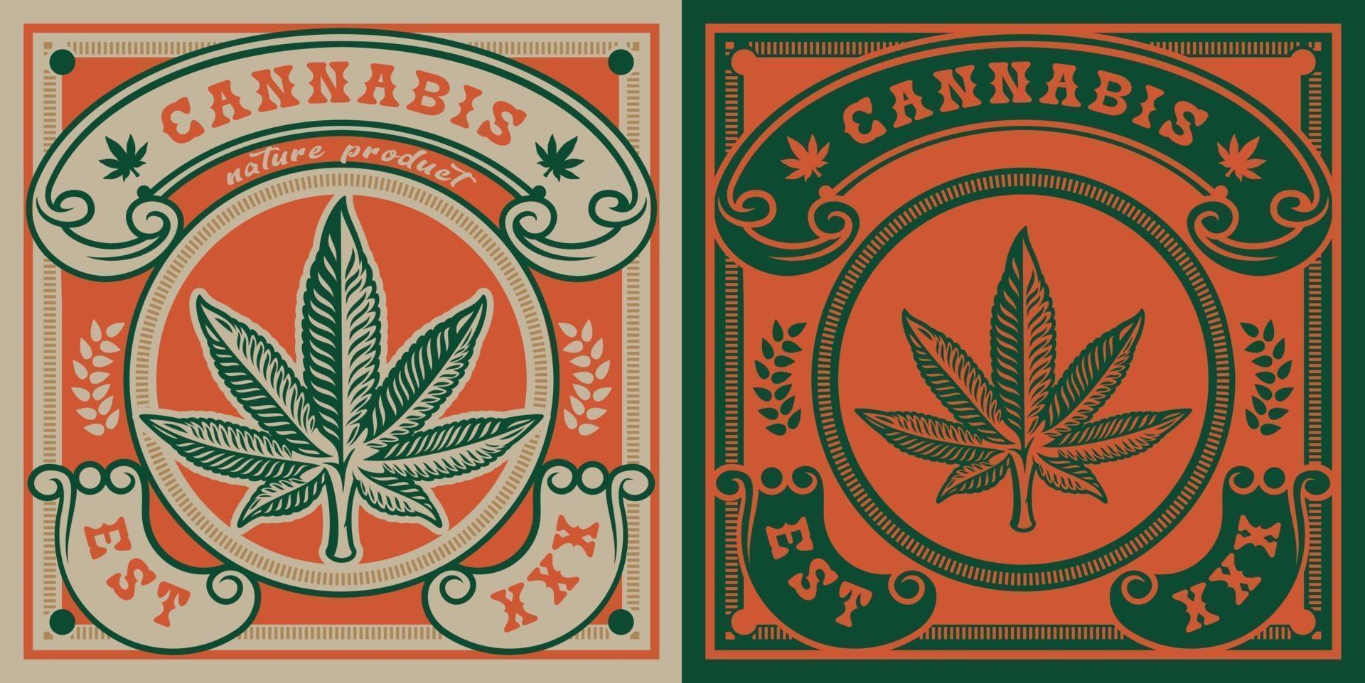 vektor emblem av cannabis blad