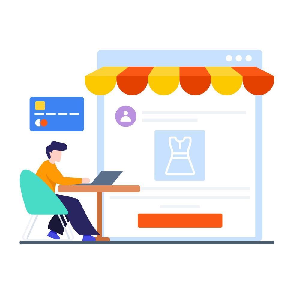 online shopping eller e-handel koncept vektor