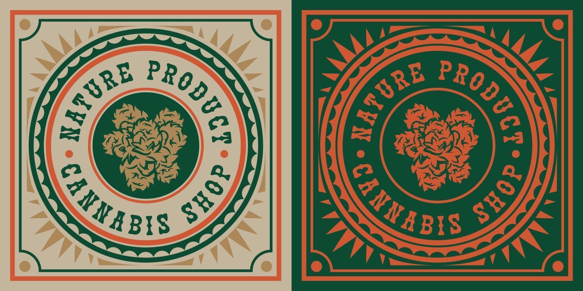 vintagemärke av cannabisblad vektor
