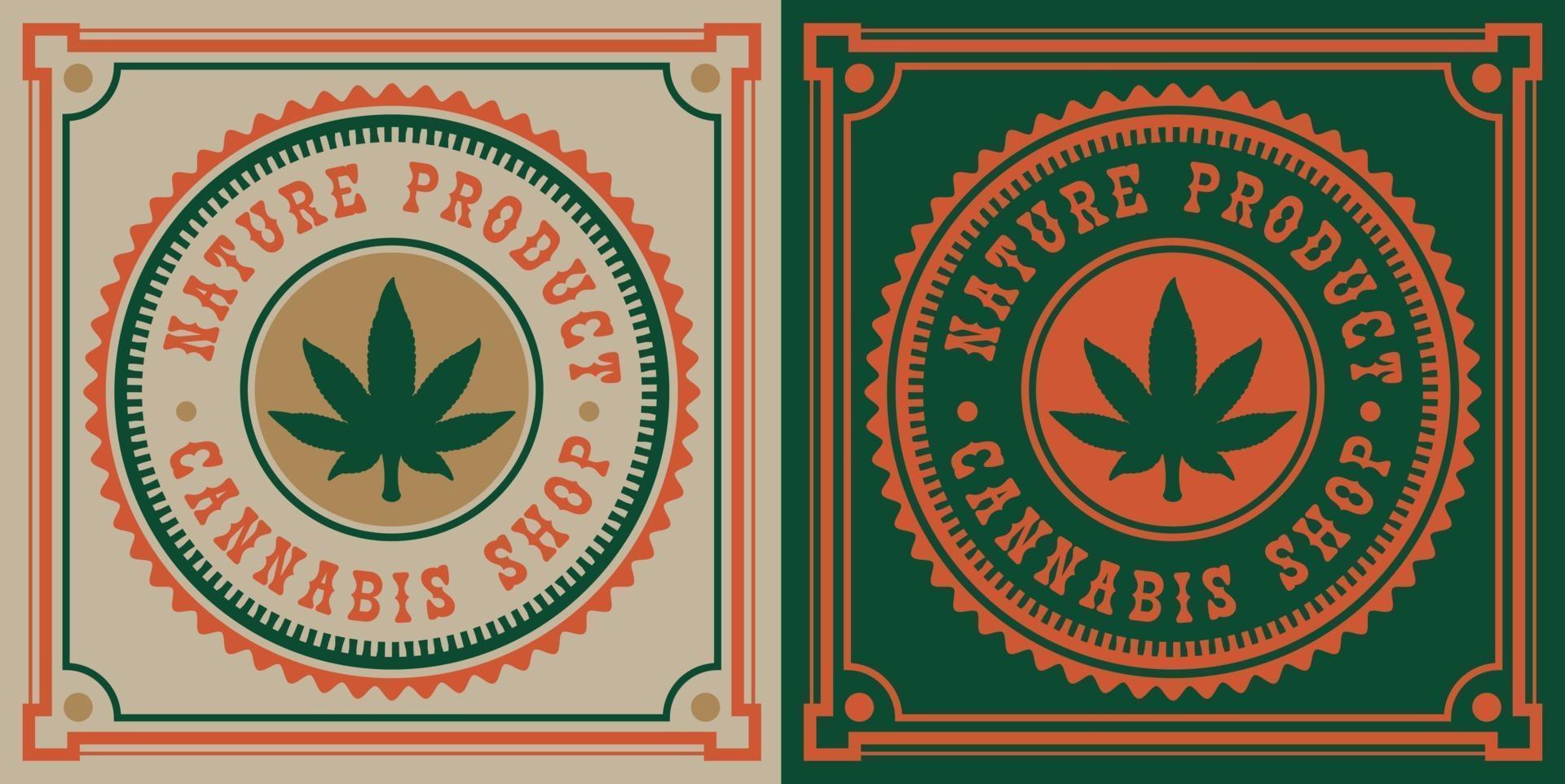 vintage emblem av cannabis blad vektor