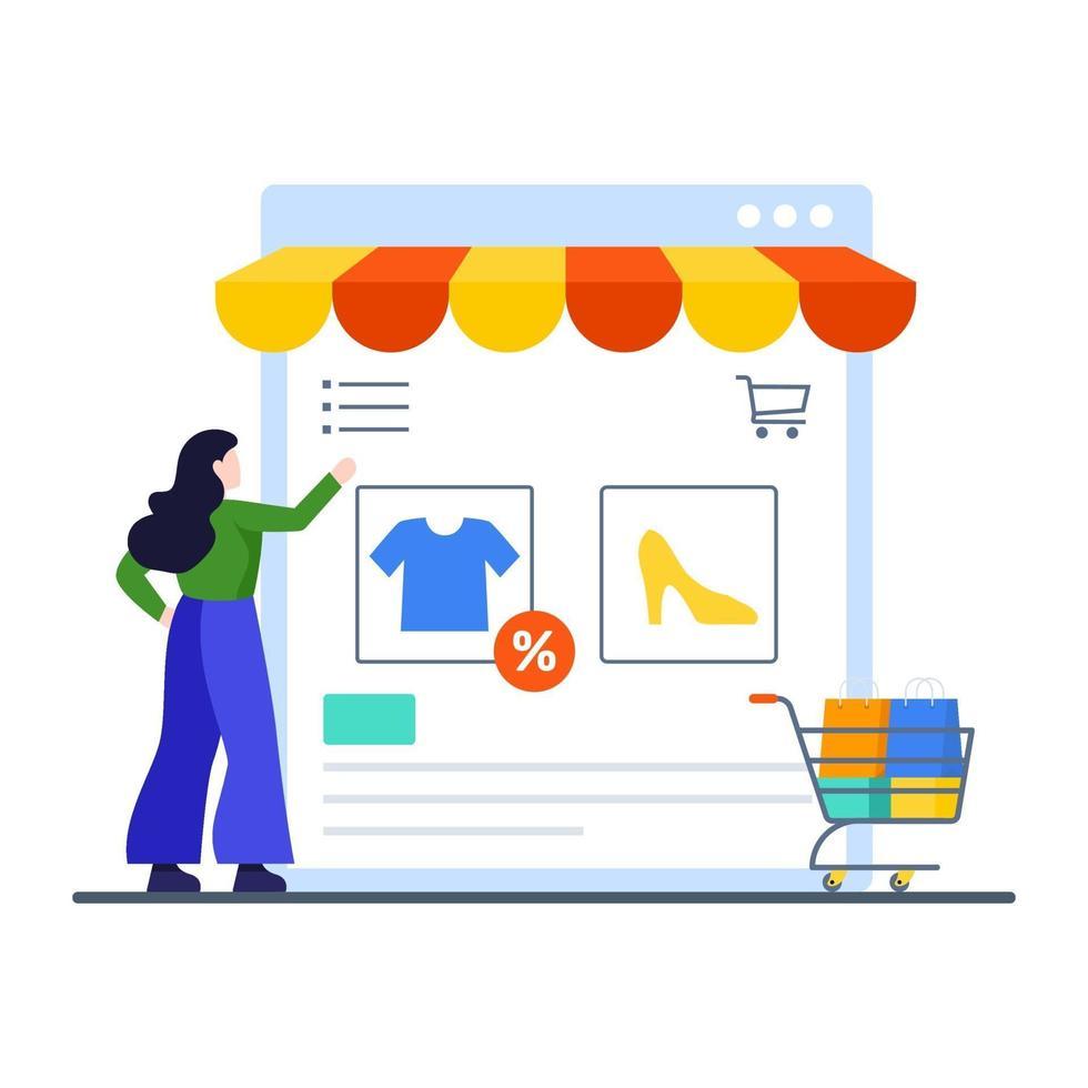 online shopping webbplats koncept vektor