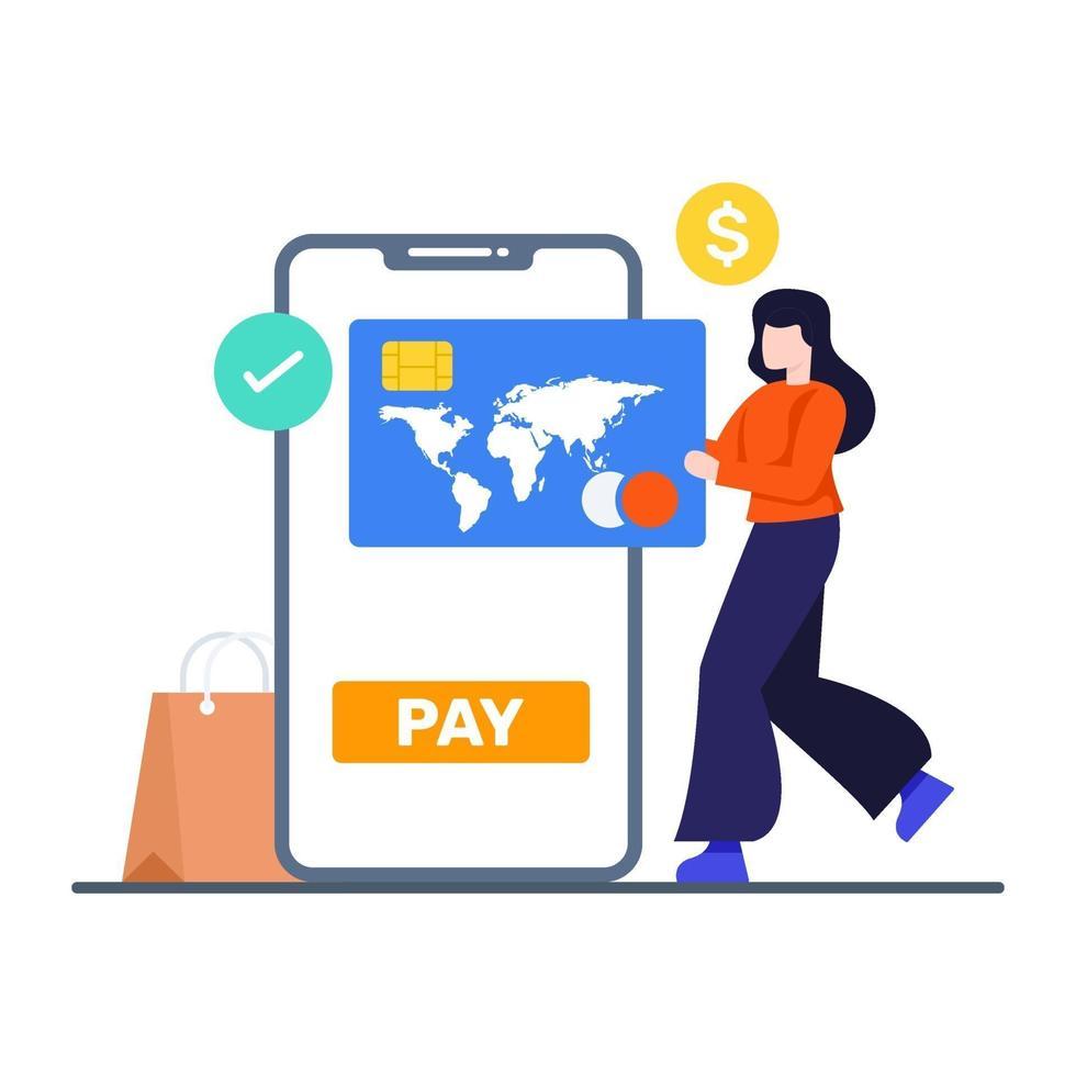 Online-Banking und Zahlungskonzept vektor