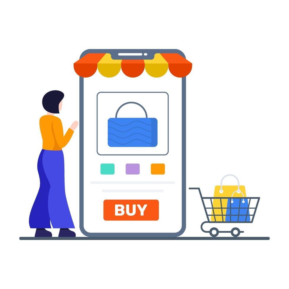 köp online eller mobil butikskoncept vektor