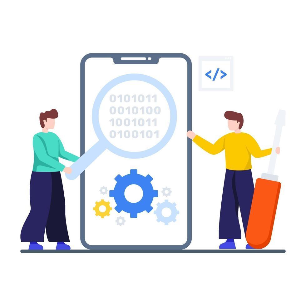 mobilt automatiseringstestkoncept vektor
