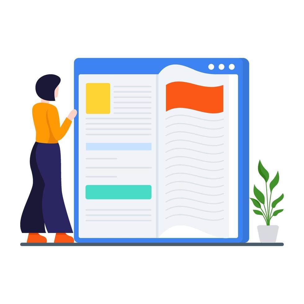 läsning bok online koncept vektor