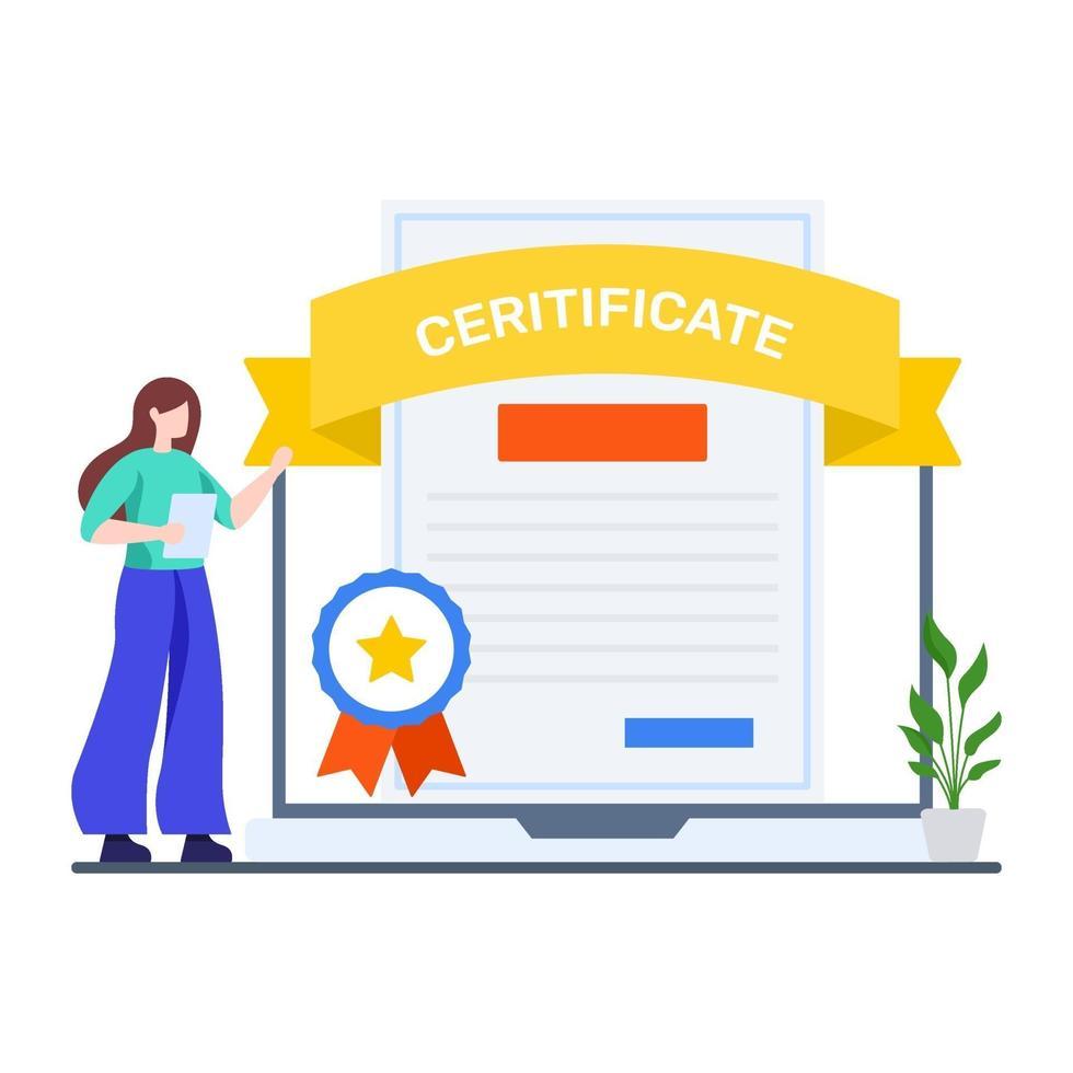 online professionellt certifikat koncept vektor