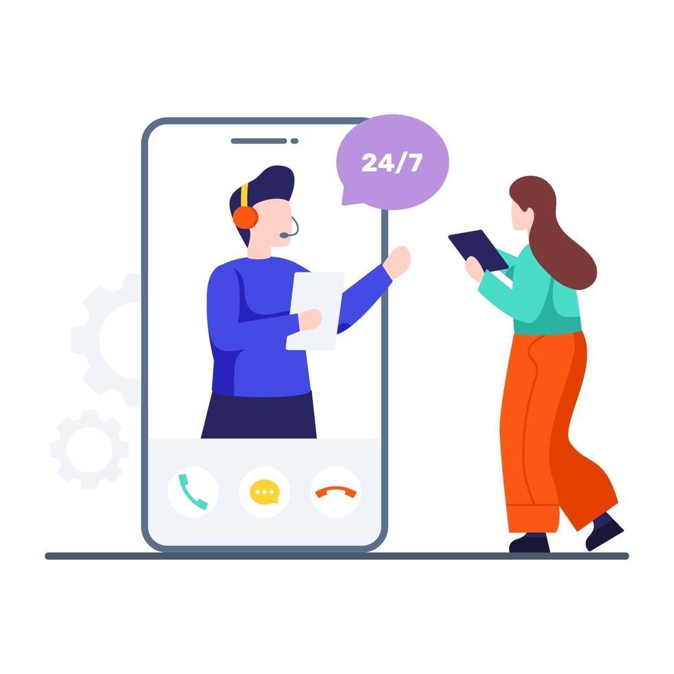Online-Kundenbetreuungskonzept vektor