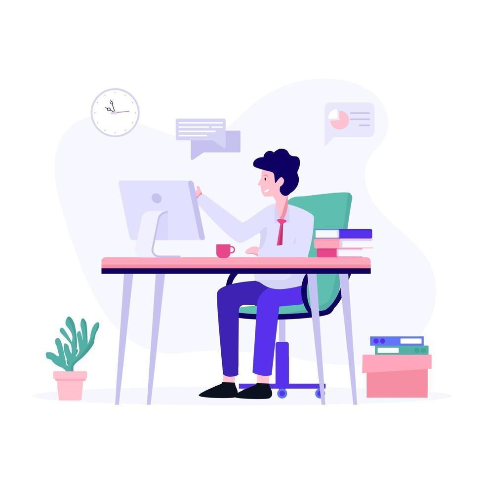manlig kontorsarbetare koncept vektor