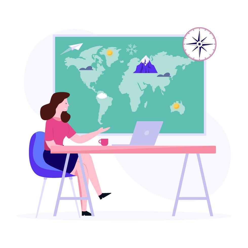 kvinna i geografi koncept vektor