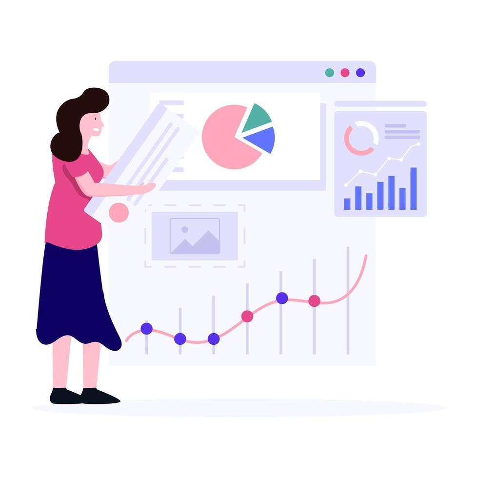 Analystinnen geben Präsentationskonzept vektor