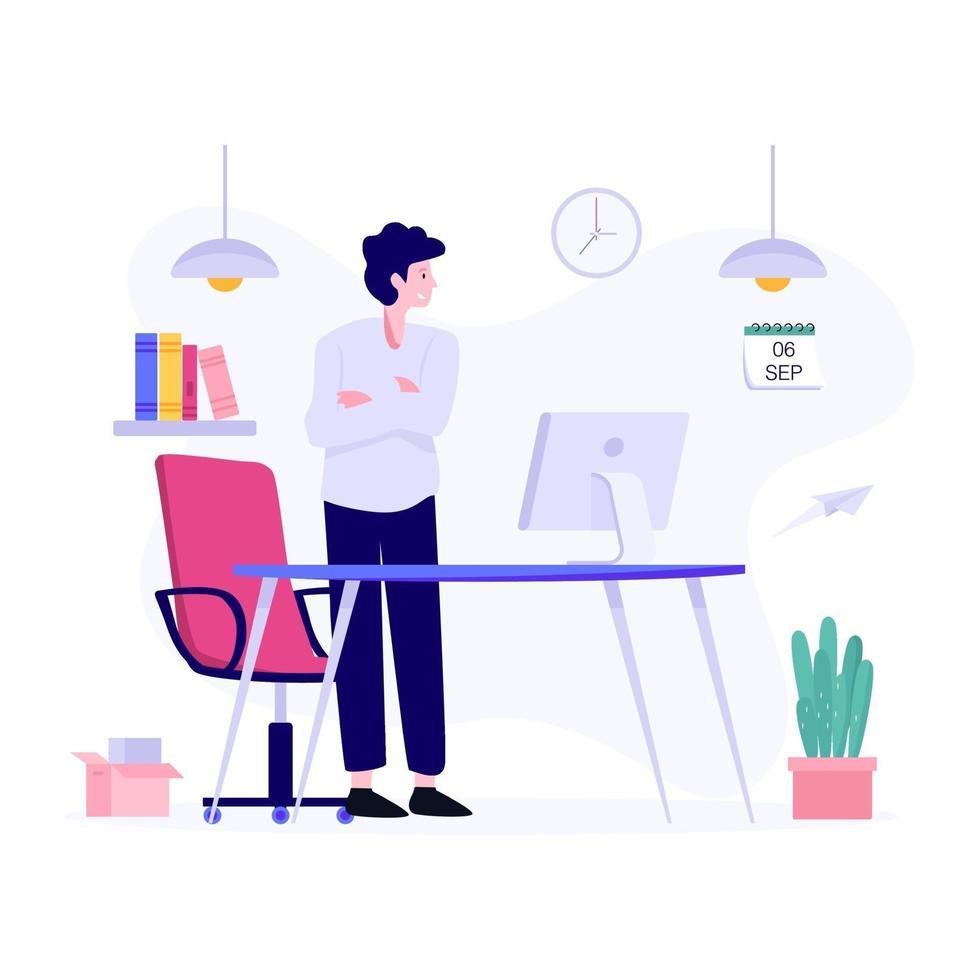 manlig office manager koncept vektor