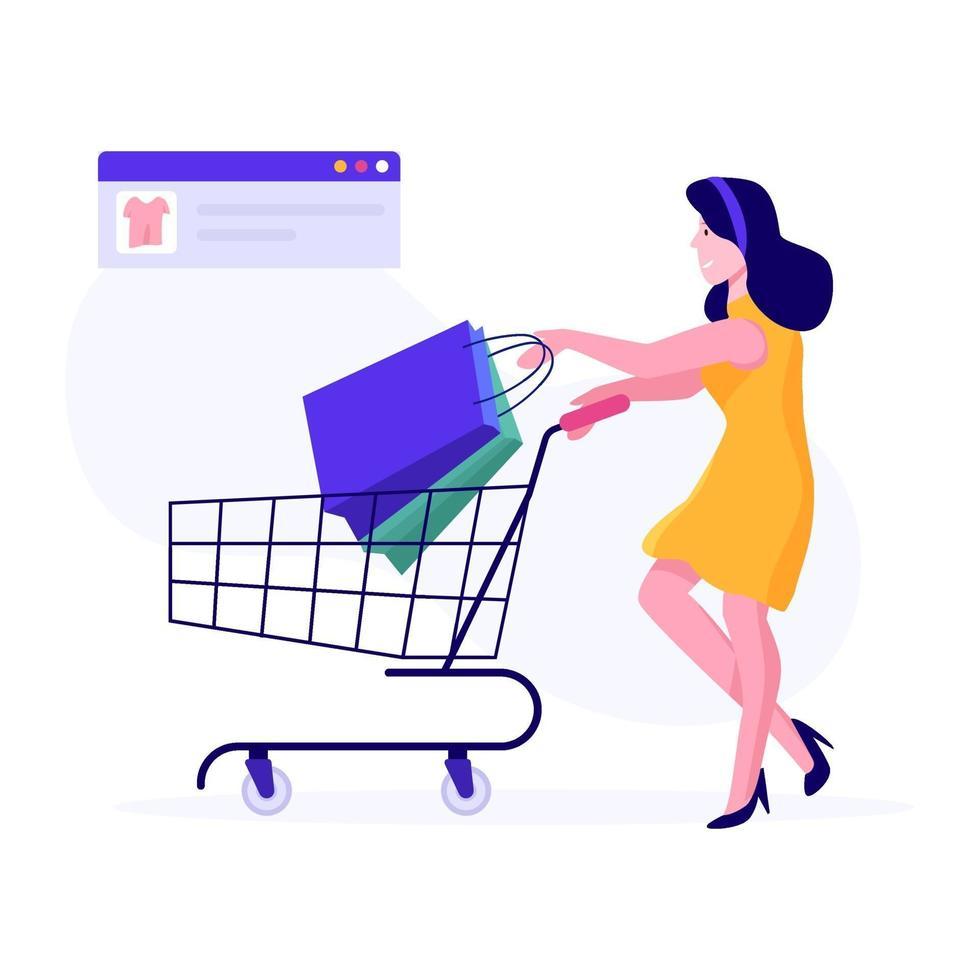 weibliches Online-Shopping-Konzept vektor