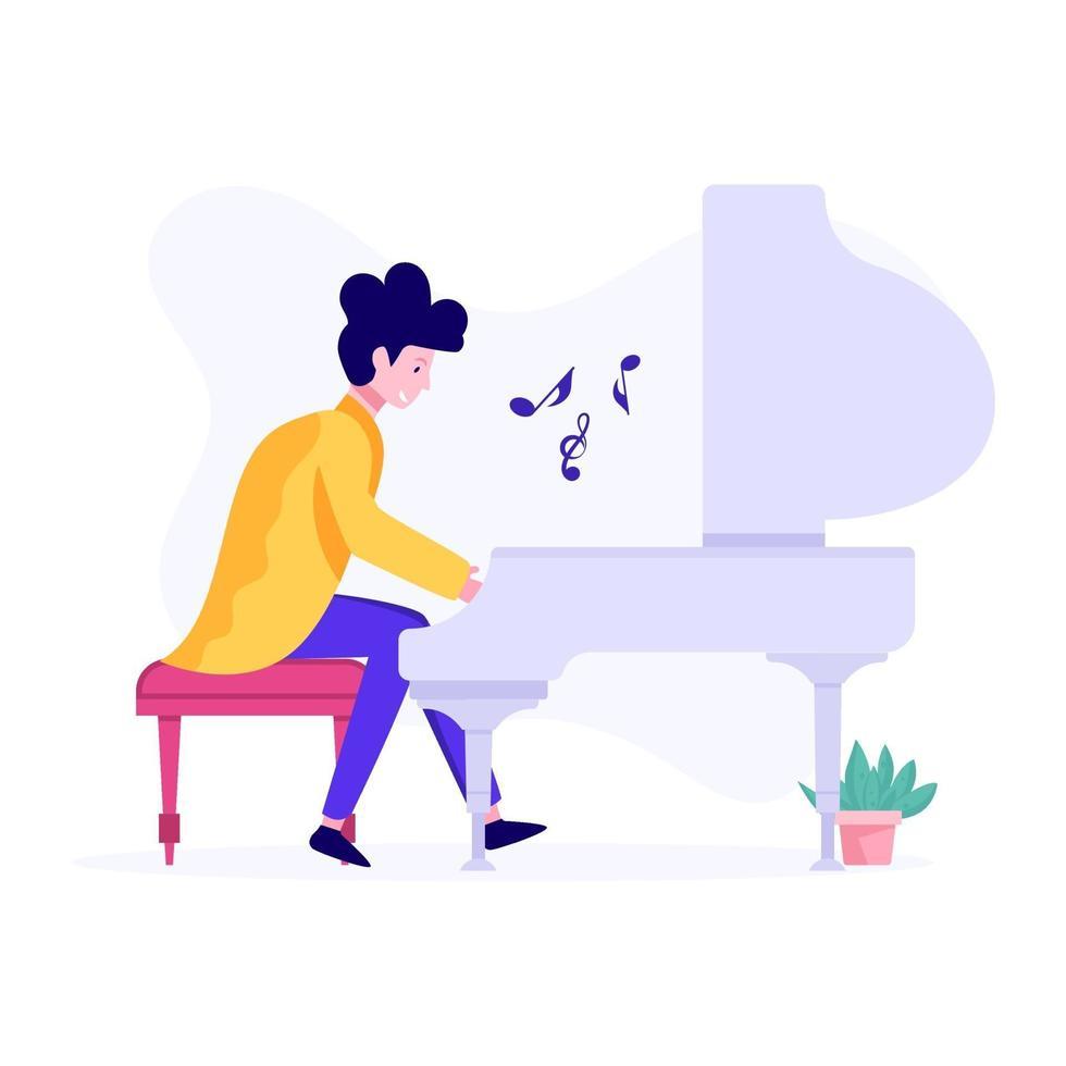 manlig pianospelare koncept vektor