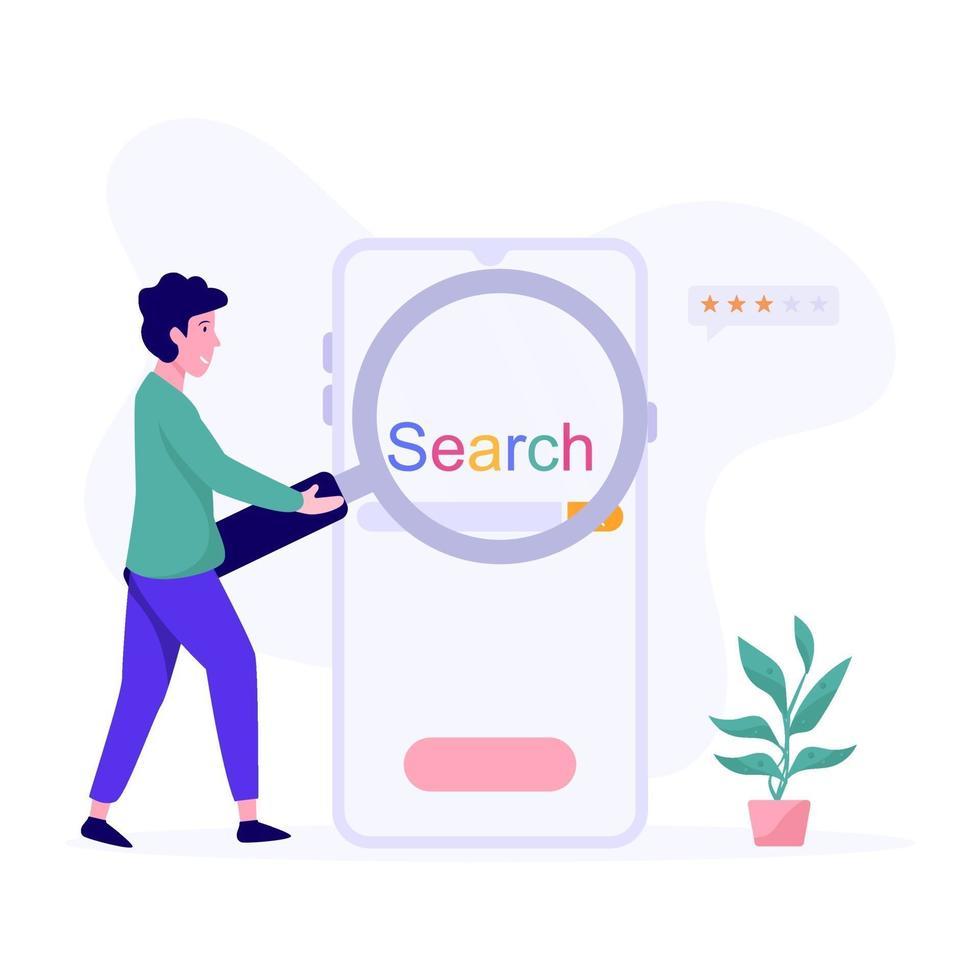 sökmotor app koncept vektor