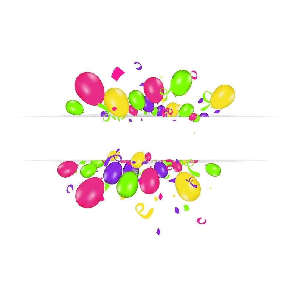 Tom banner med färgballonger och konfetti. vektor festlig bakgrund. Grattis på födelsedagen koncept