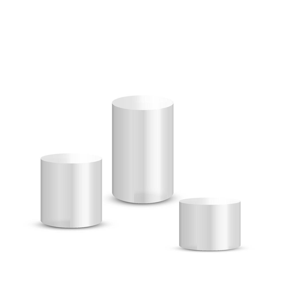 vit cylinderstativ isolerad på vit bakgrund. plattform, podium för att annonsera för olika objekt. vektor illustration