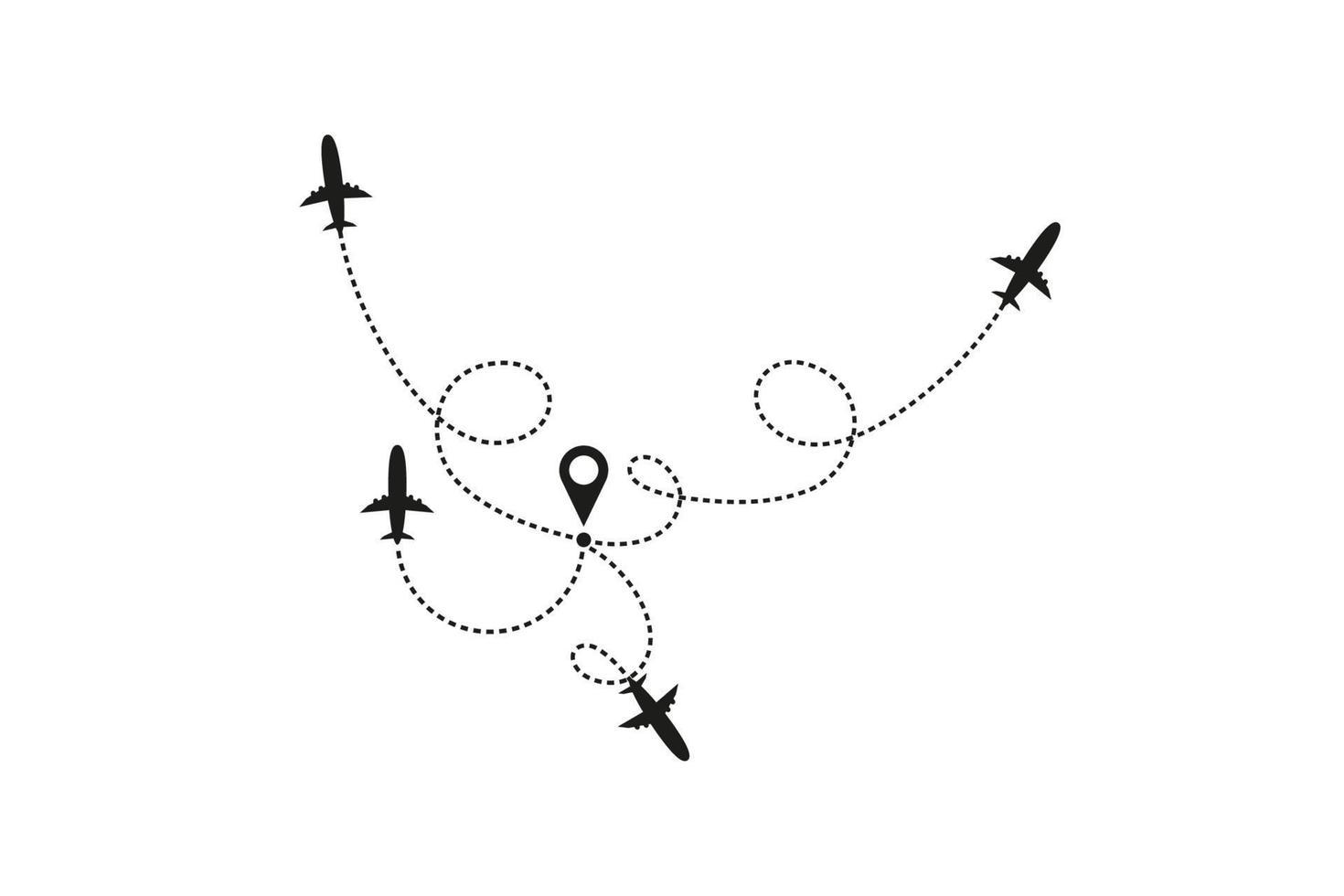 turism och resekoncept. flygplan linje bana på vit bakgrund. vektor ikon för flygplanets flygväg med strecklinjespårning, startpunkt och överföringspunkt. vektor illustration