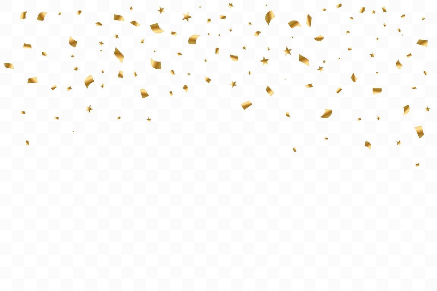 viele fallende luxuriöse goldene Konfetti. Geburtstagsfeier. Vektorillustration vektor