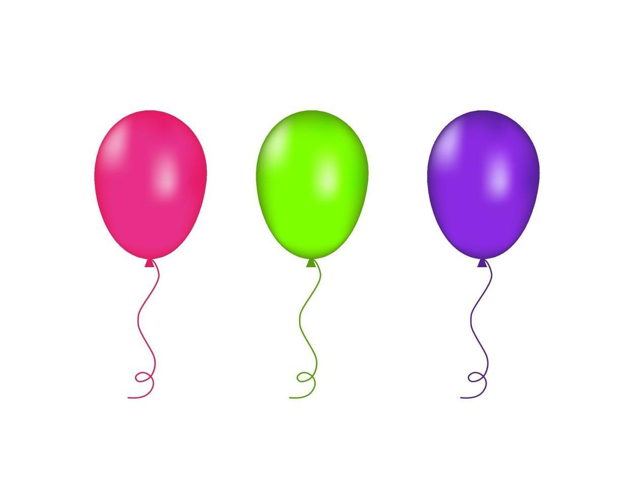 rosa, gröna och lila ballonger isolerade. vektor illustration