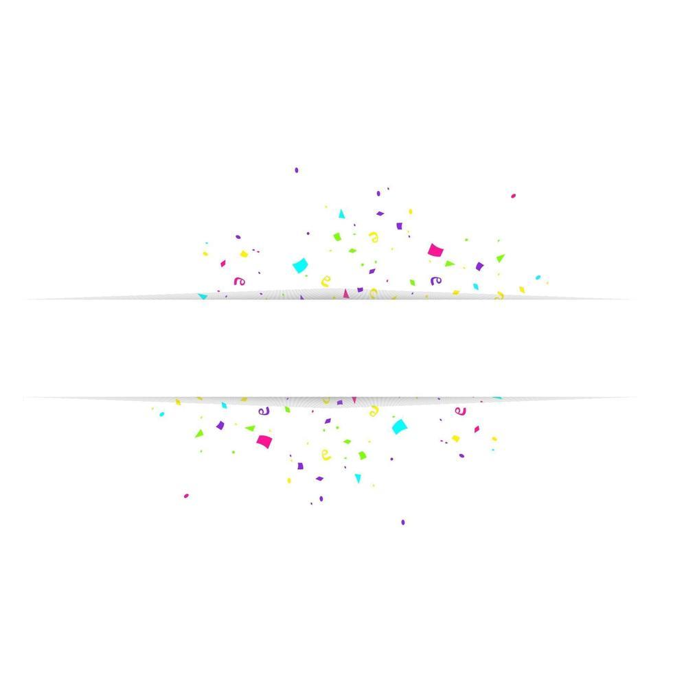 Tom banner med färgkonfetti isolerad på vit bakgrund. vektor festlig bakgrund. Grattis på födelsedagen koncept