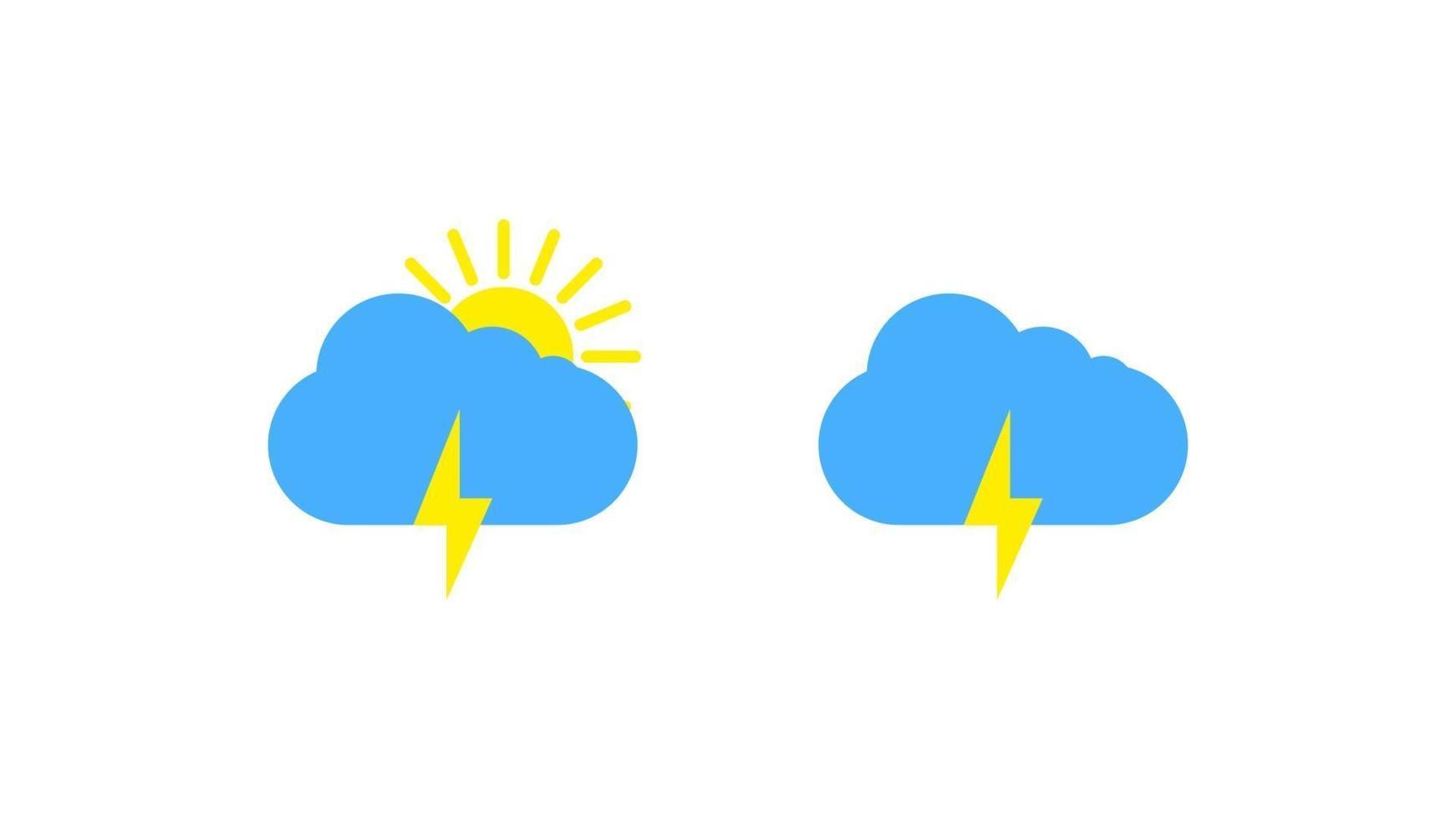 sonniges Wetterzeichensymbol auf weißem Hintergrund. gelbe Sonne und Wolke und Blitzillustration vektor