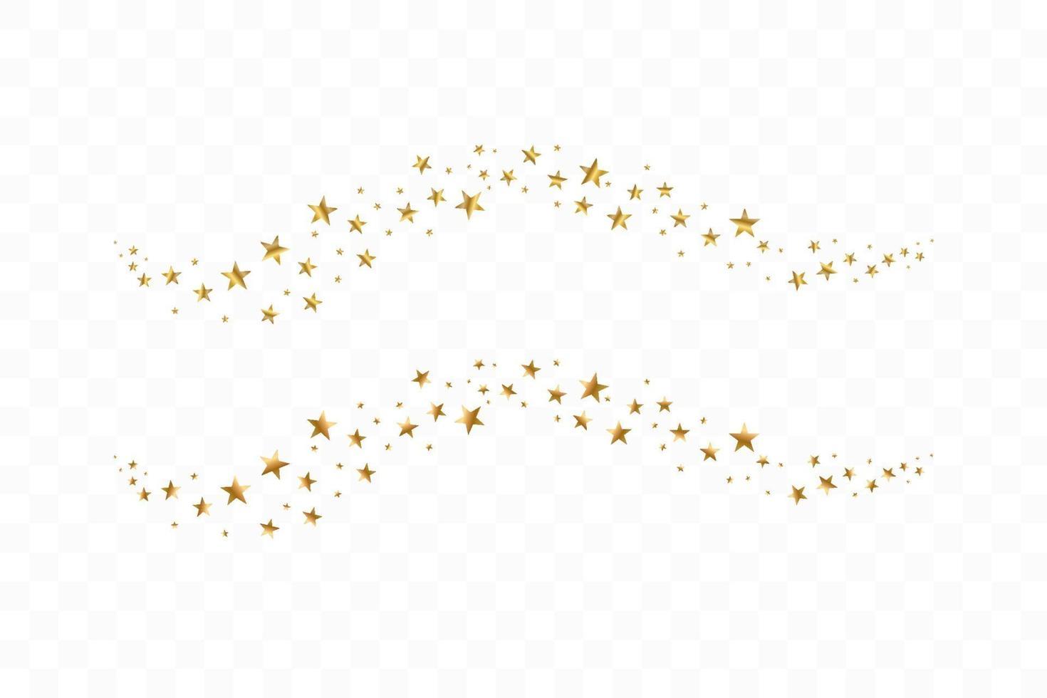 fallende goldene Sterne. Wolke der goldenen Sterne isoliert vektor